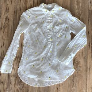 Merona half button down shirt with lemon detail